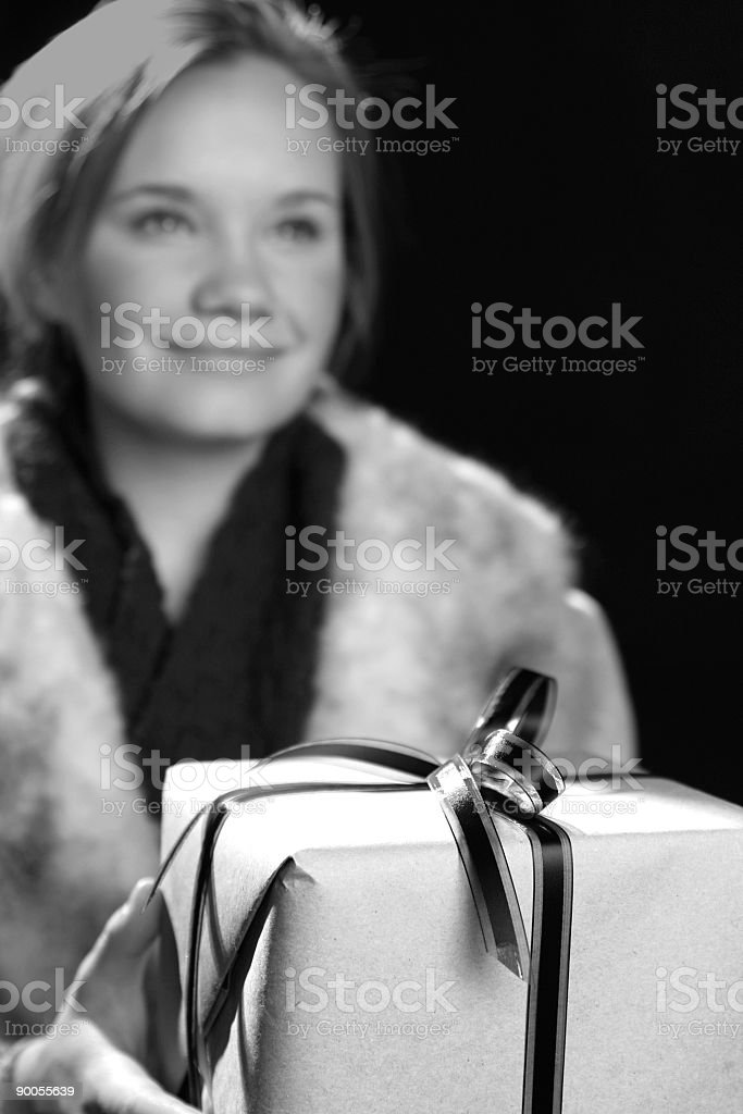 girl holding gift royalty-free stock photo