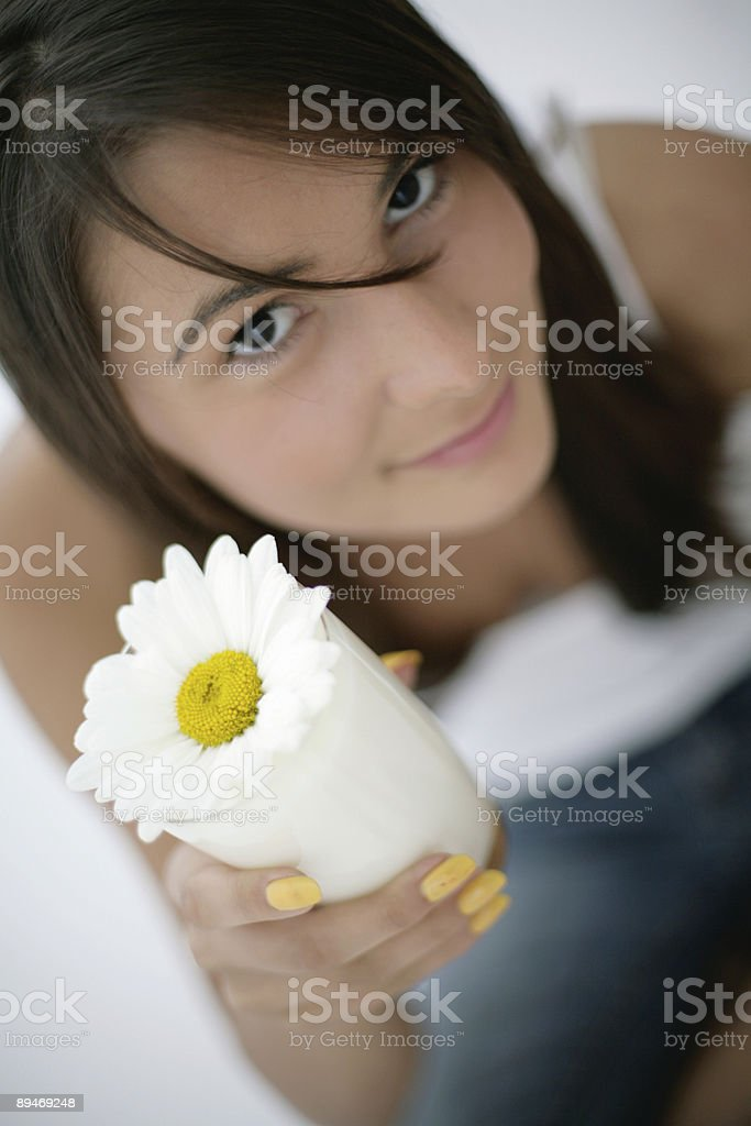 girl holding glass of milk royalty-free stock photo