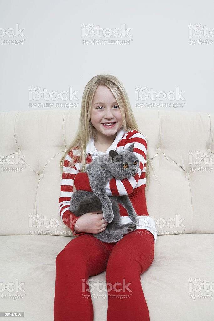 Girl holding grey cat royalty-free stock photo