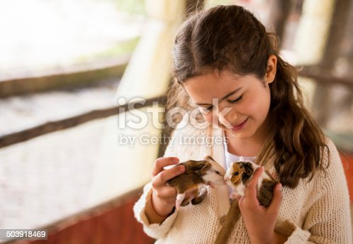 Girl holding guinea pigs at a farm animal