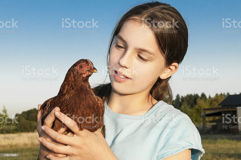 Girl Holding Hen royalty-free stock photo