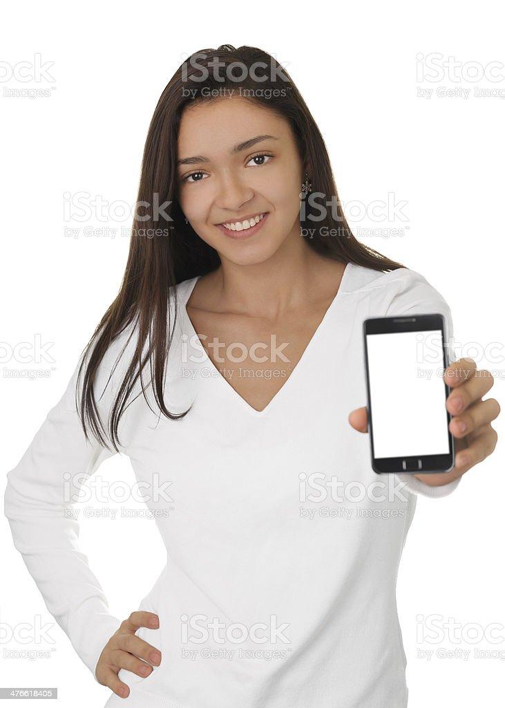 Girl Holding Smart Phone stock photo