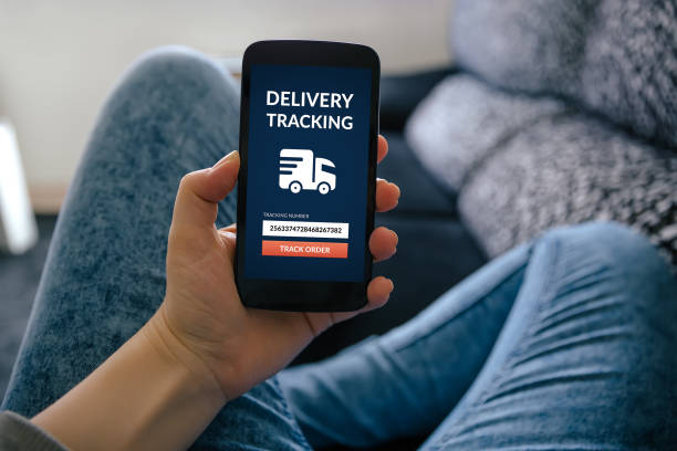 Girl holding smart phone with delivery tracking concept on screen stock photo