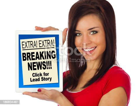 Girl Holding Tablet Computer with e-Newspaper Front Page on Screen