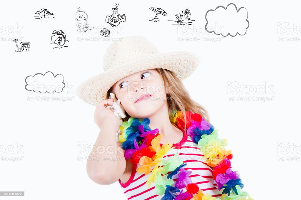 girl holding the shell to your ear dream vacation stock photo