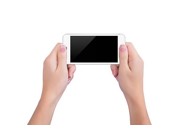 Mädchen holding der weißen Telefon – Foto