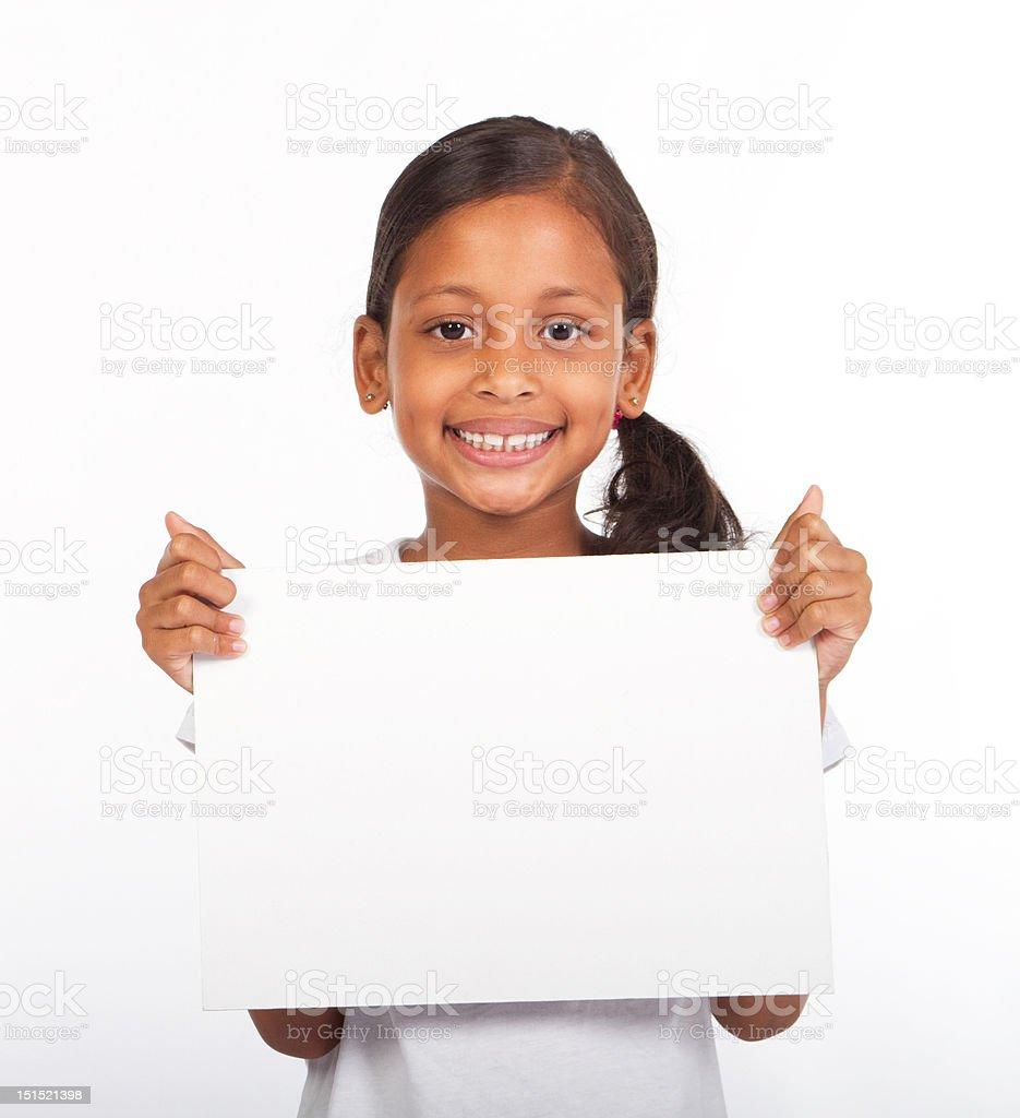 girl holding white board stock photo