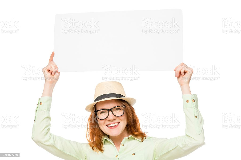 girl holds a placard above his head royalty-free stock photo