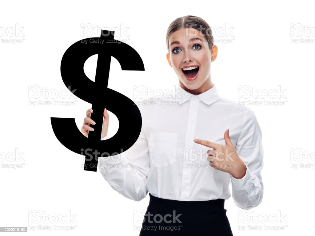 Girl holds dollar symbol stock photo