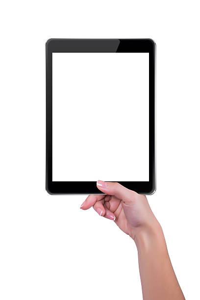 Mädchen hält in einer hand mit tablet-computer – Foto