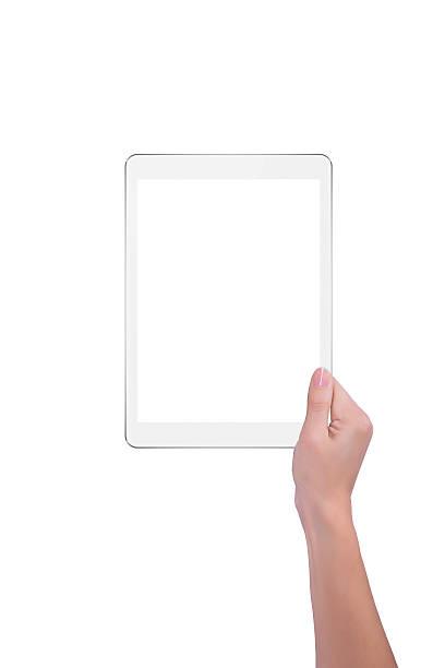 Mädchen hält in einer hand ein tablet – Foto