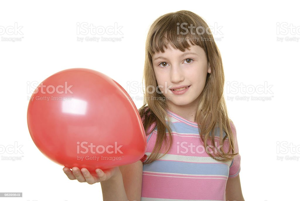 Girl holds red balloon on  hand royalty-free stock photo