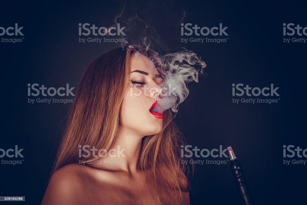 Girl. Hookah stock photo