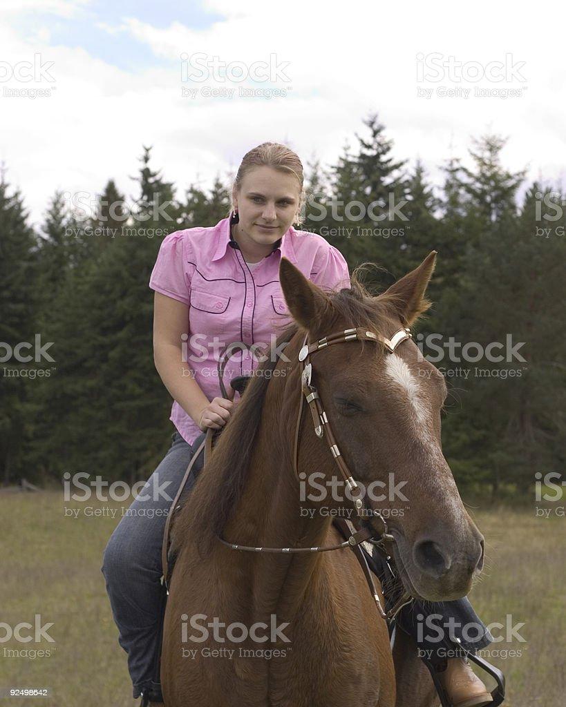 Girl & Horse Portrait royalty-free stock photo