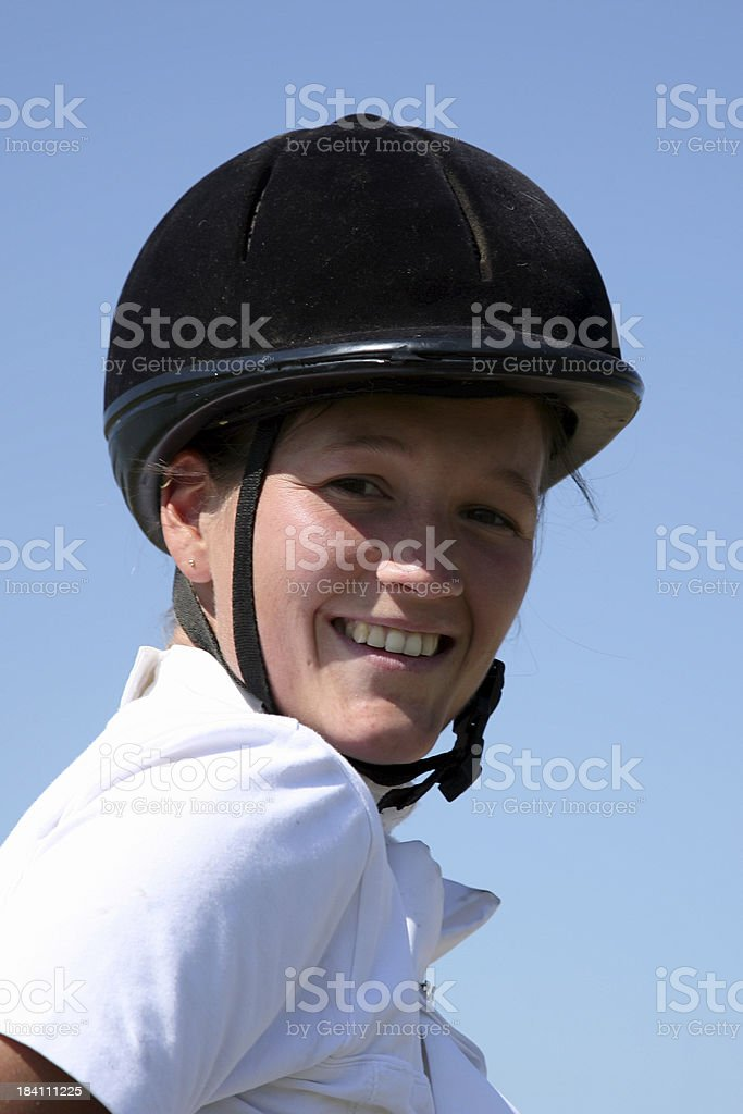 Girl horseback riding royalty-free stock photo