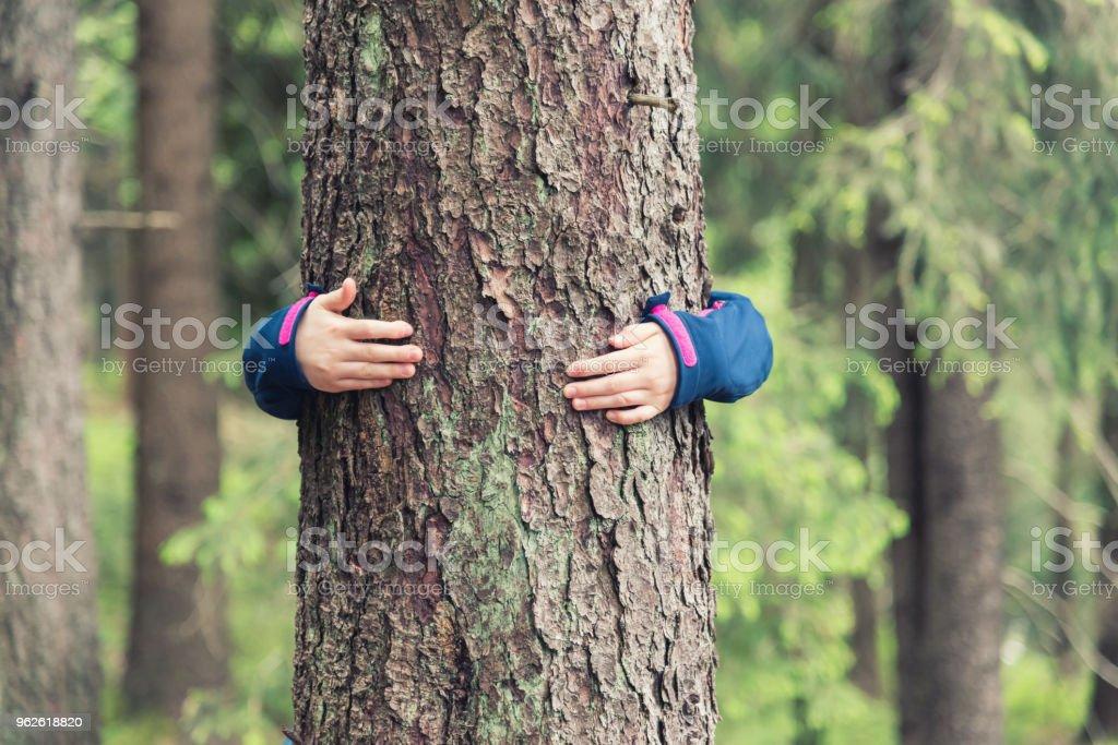 Mädchen umarmt einen Baum – Foto