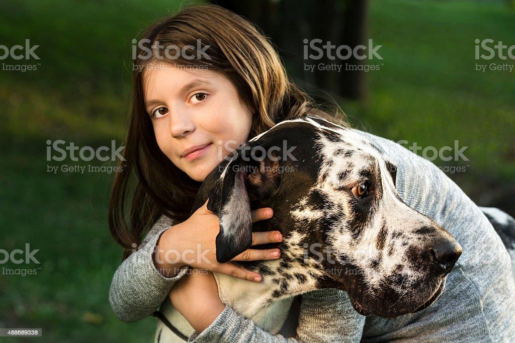 Girl hugs her big strong buddy Great Dane stock photo