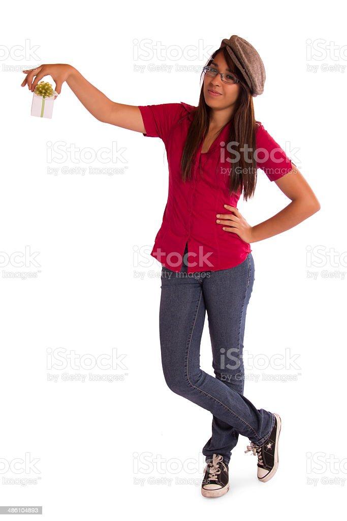 Girl ignoring a Gift stock photo