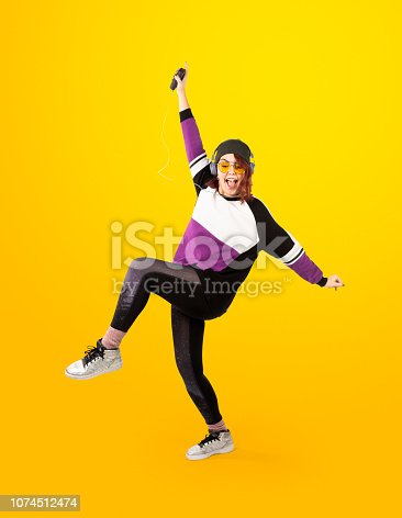Girl in 90s with yellow background