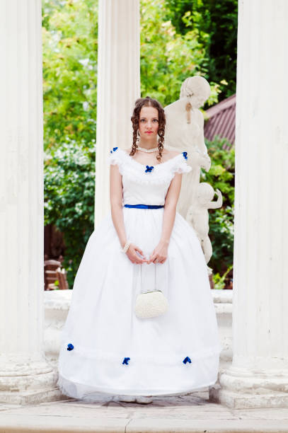 girl in a ball gown in the summer rotunda - petticoat stock pictures, royalty-free photos & images