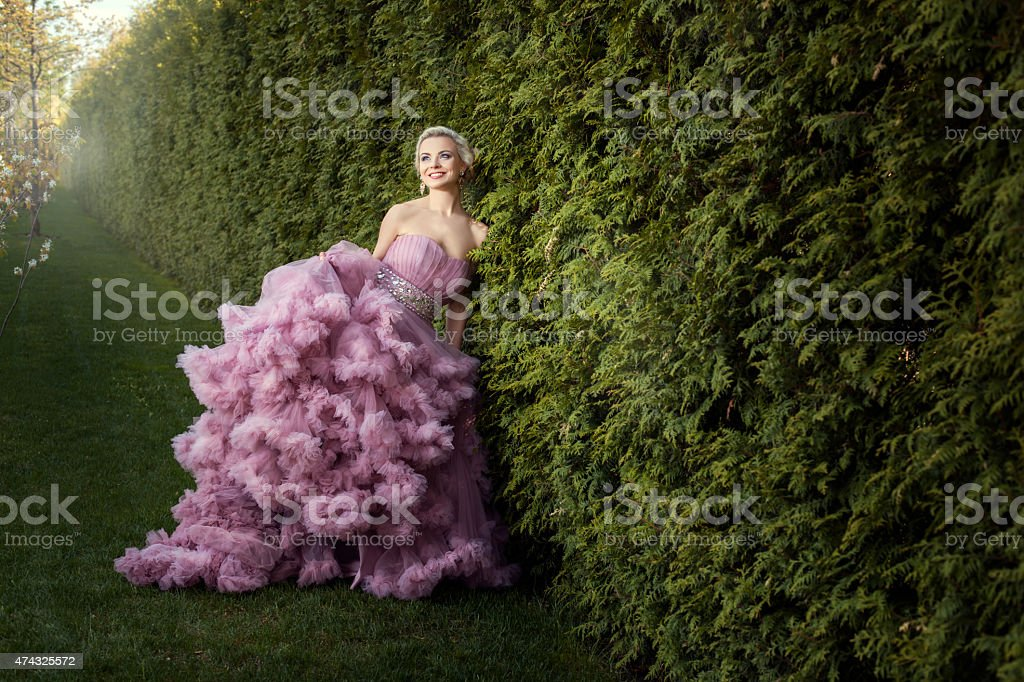 Girl in a beautiful pink dress. stock photo
