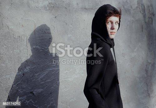 Ninja woman redhead street style