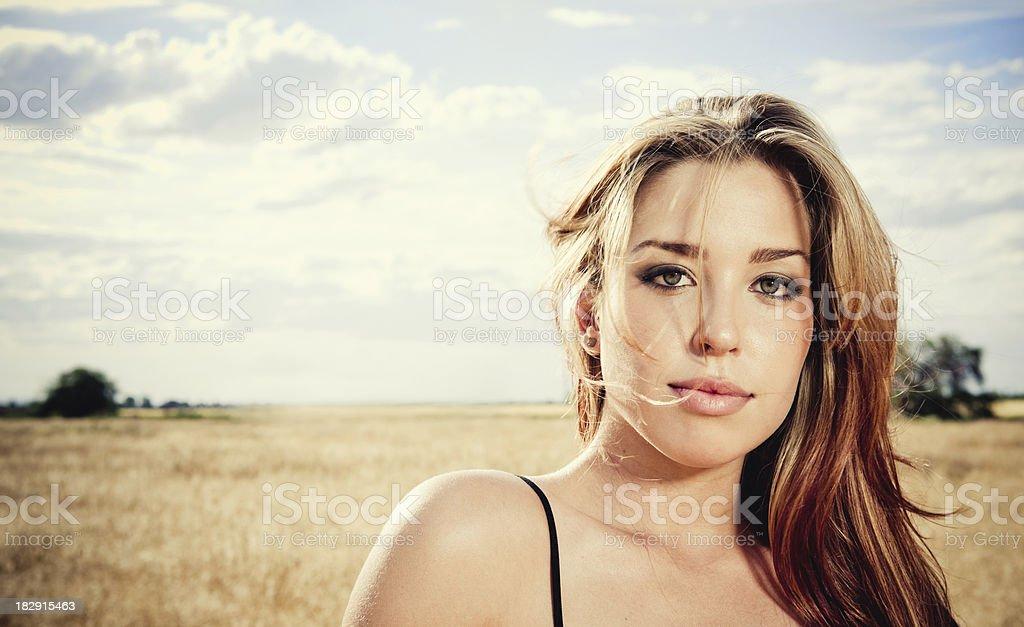 Girl in a black dress posing by wheat field. stock photo
