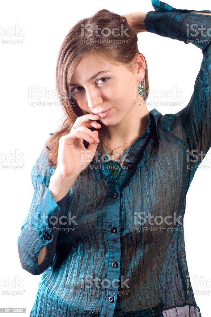 kız mavi bluz - Royalty-free Beyaz Tenli Stok görsel