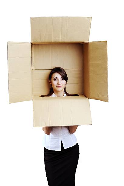 Girl in a box stock photo