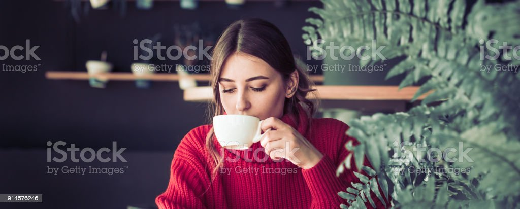 Girl in a cafe drinking tea royalty-free stock photo