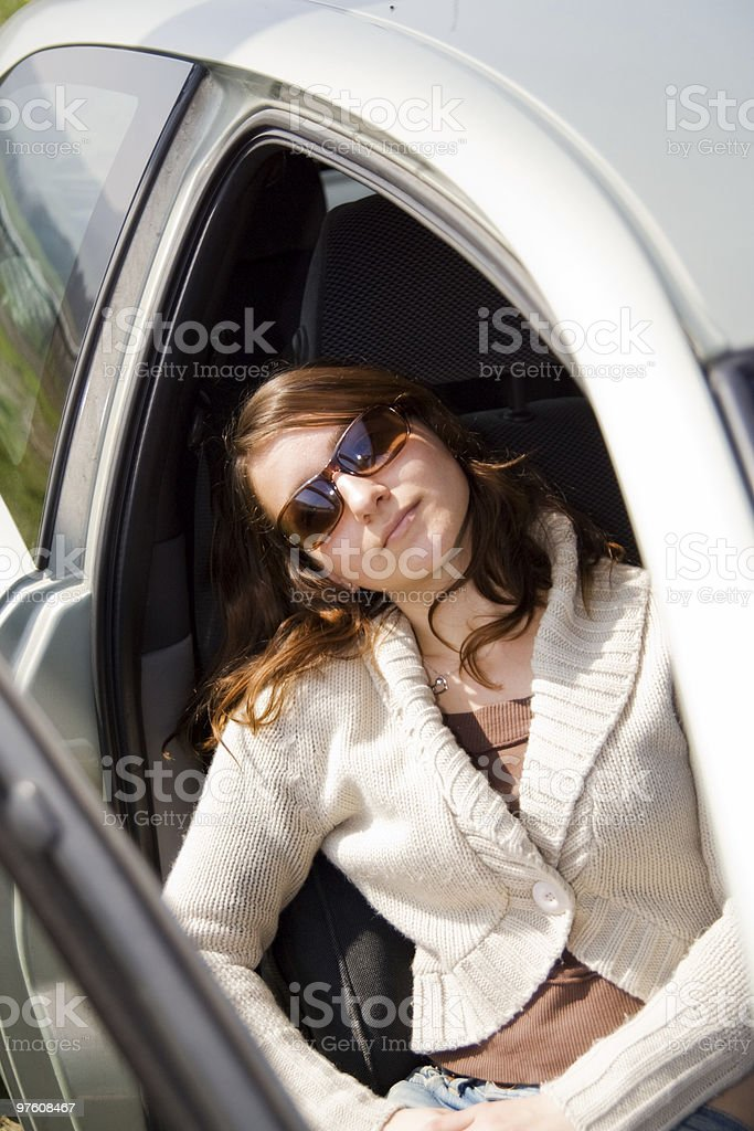 Girl in a Car royaltyfri bildbanksbilder