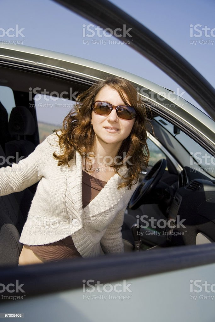 Girl in a Car royalty-free stock photo