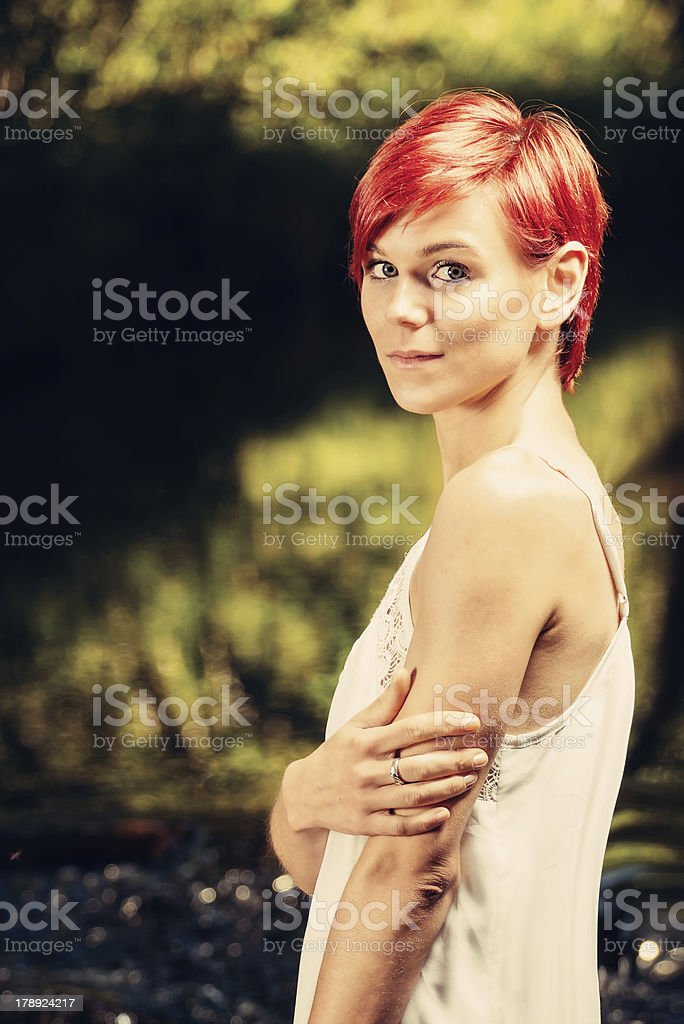 Girl in a creek royalty-free stock photo