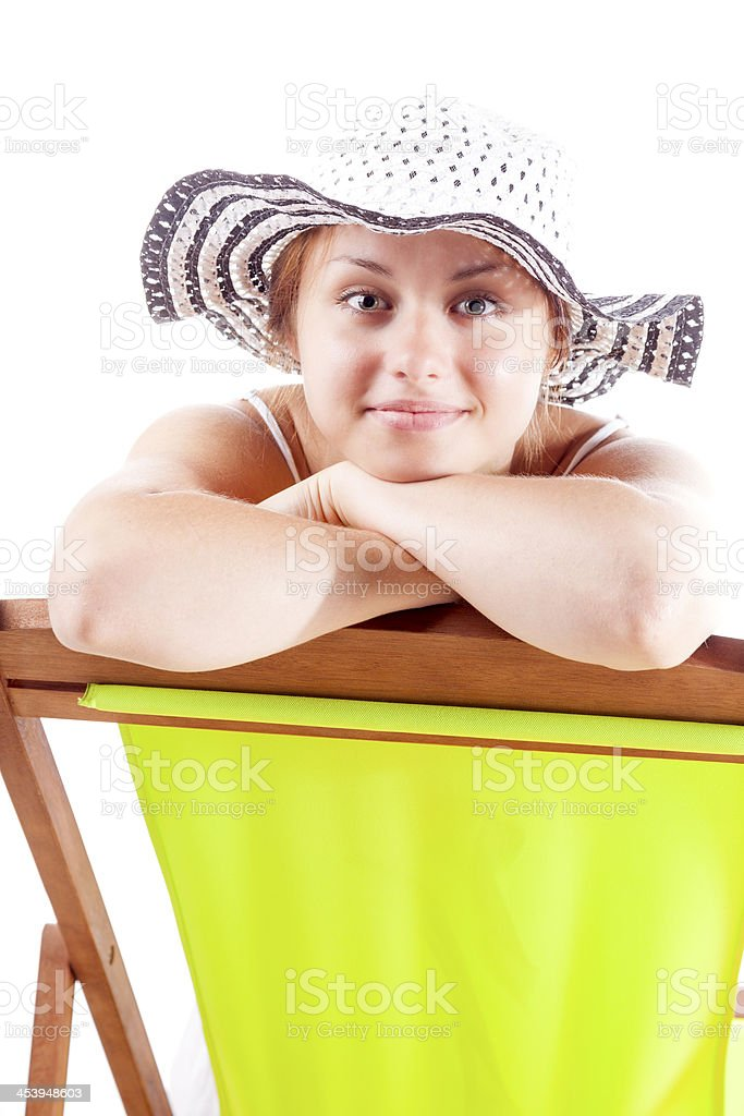 Girl In A Deckchair royalty-free stock photo