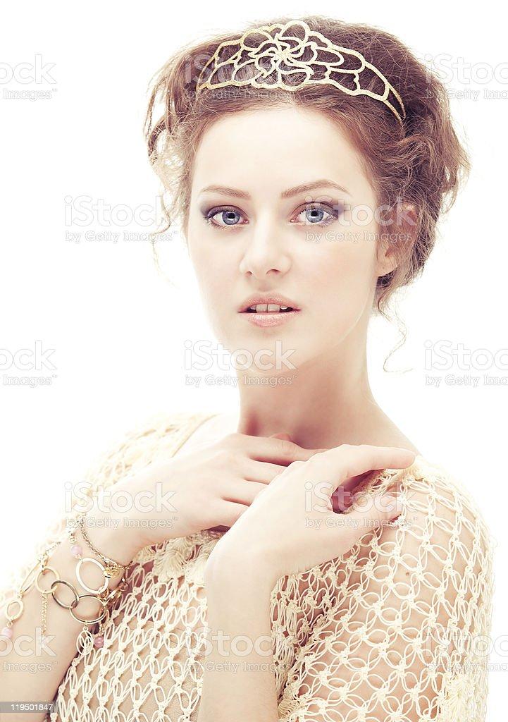 Girl in a diadem stock photo