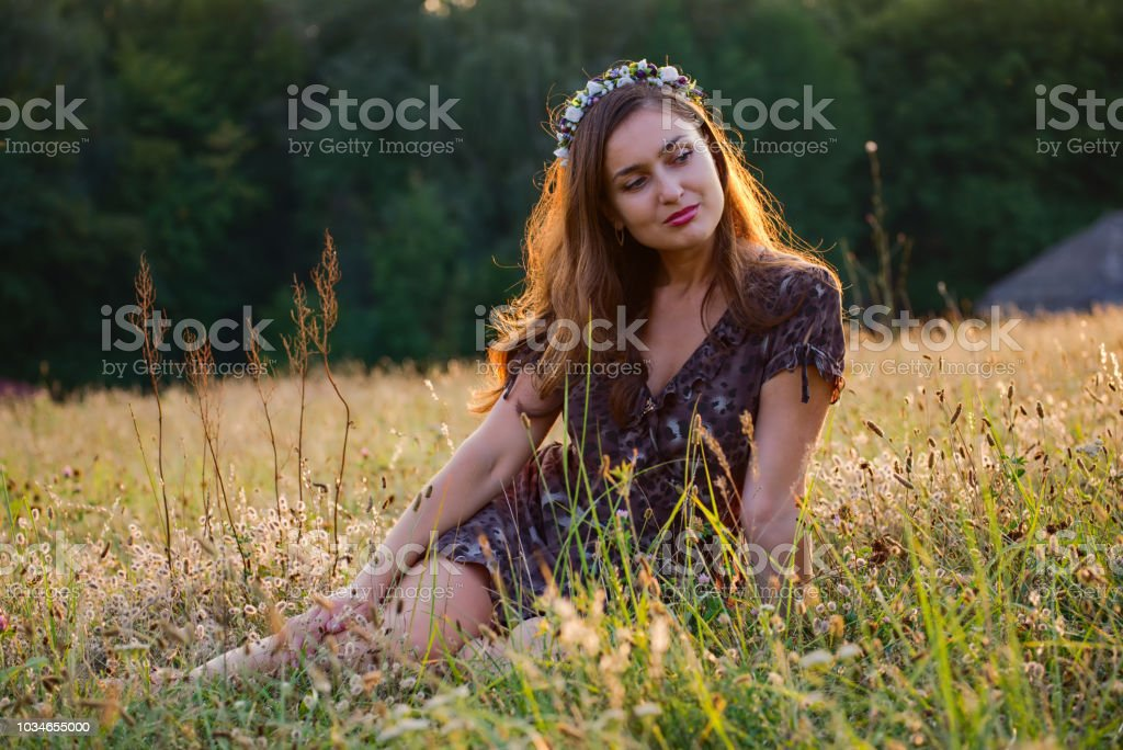 Girl In A Field stock photo
