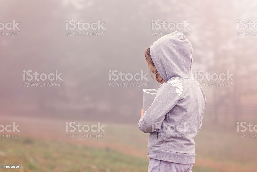 girl in a foggy forest stock photo