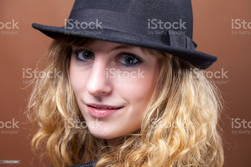 Girl In A Hat royalty-free stock photo