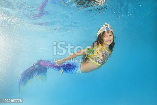 Leisure, relax and active lifestyle concept. Underwater girl wearing bikini swimming and diving