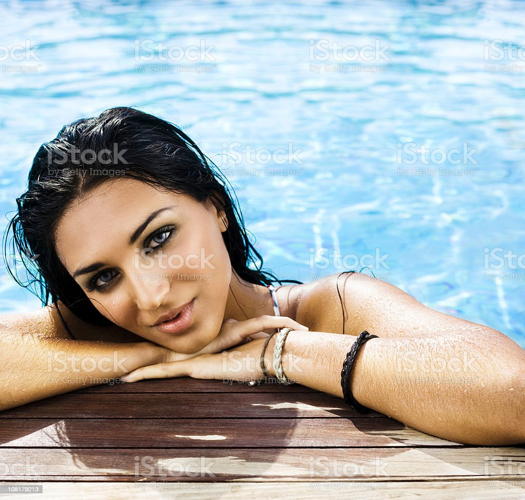 girl in a pool royalty-free stock photo