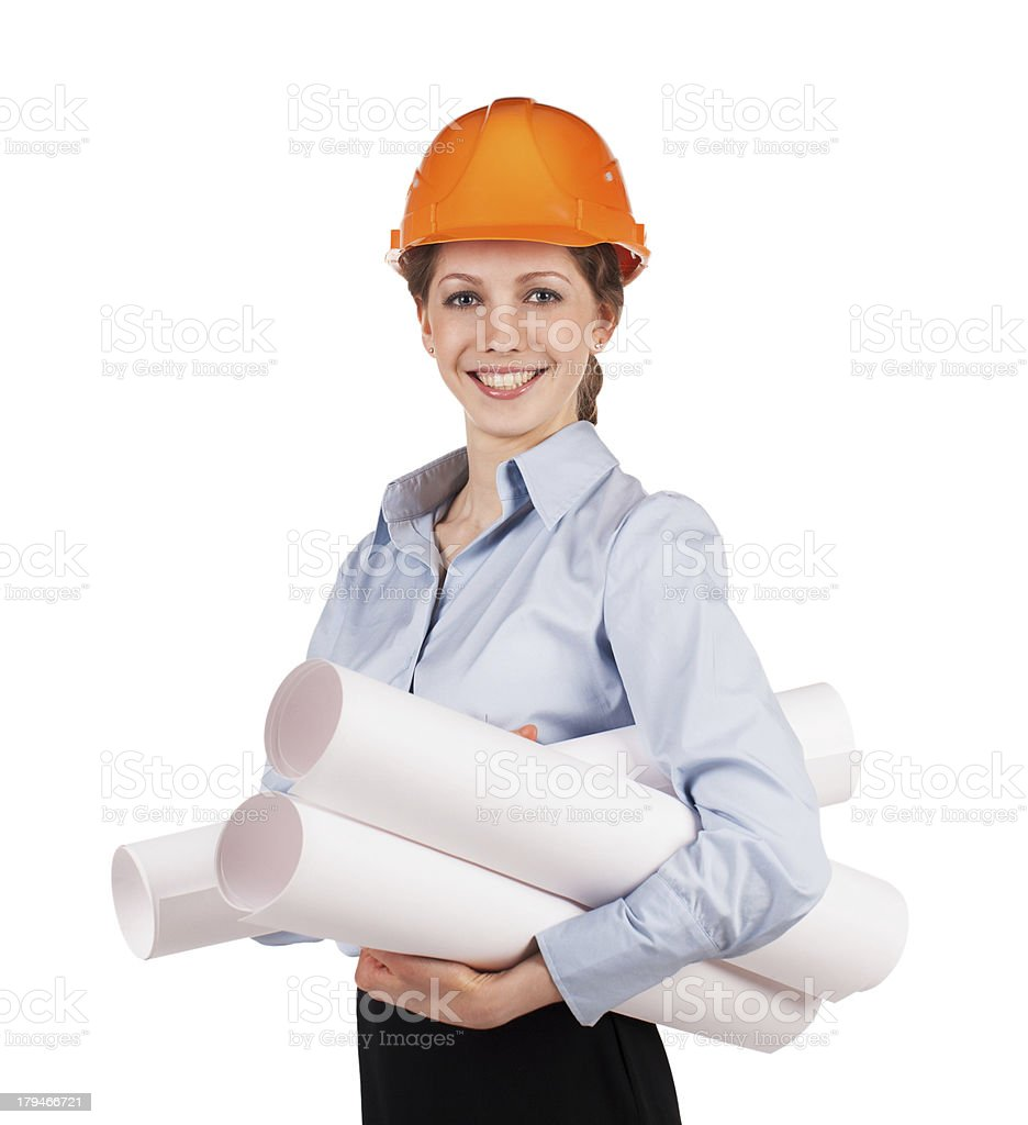 Girl in a protective helmet with drawings royalty-free stock photo