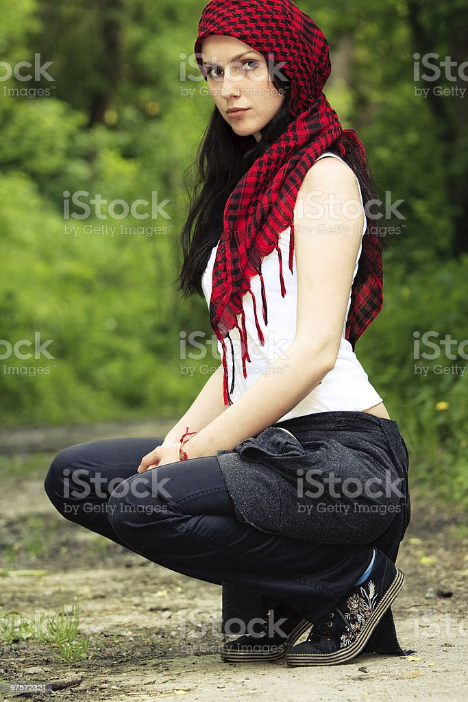 Girl in a red kerchief royalty-free stock photo