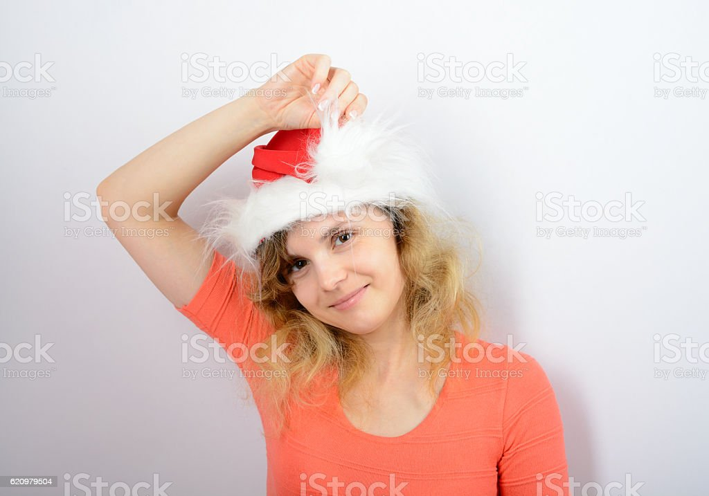 Girl in a red santa hat foto royalty-free