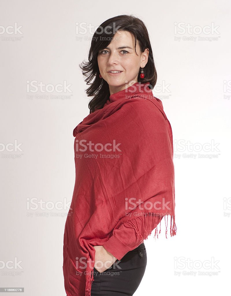 Girl in a red shawl stock photo
