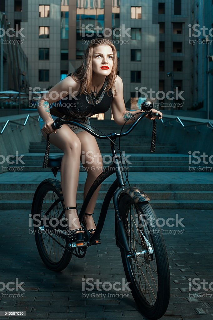Girl in a rock style. stock photo