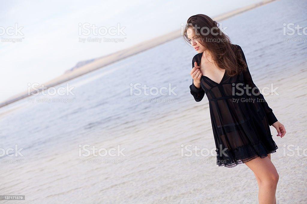 girl in a salt lake royalty-free stock photo