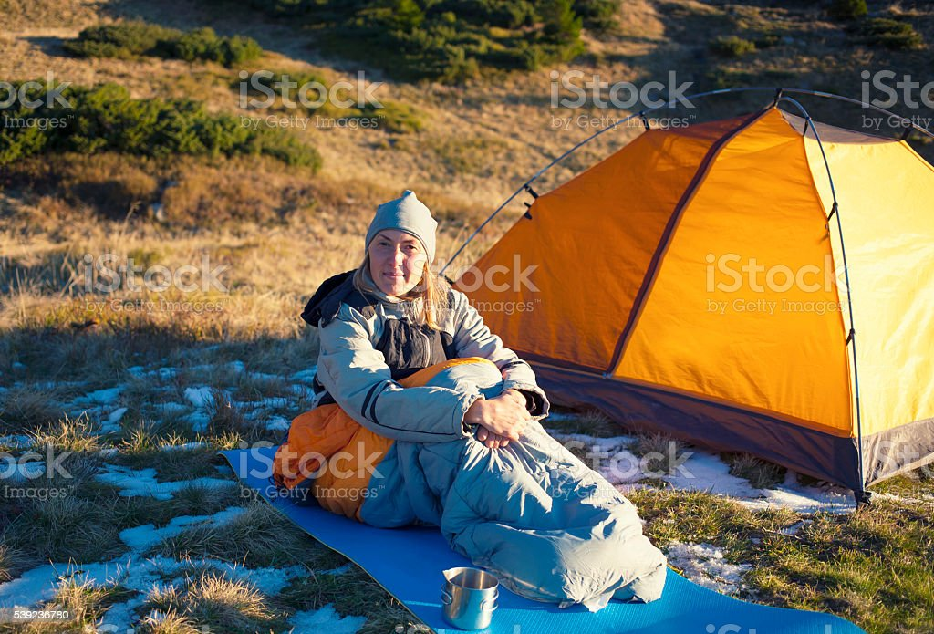 Girl in a sleeping bag. royalty-free stock photo