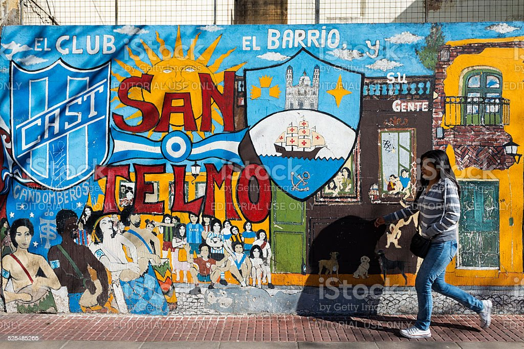 Girl in a street of San Telmo, in Buenos Aires stock photo