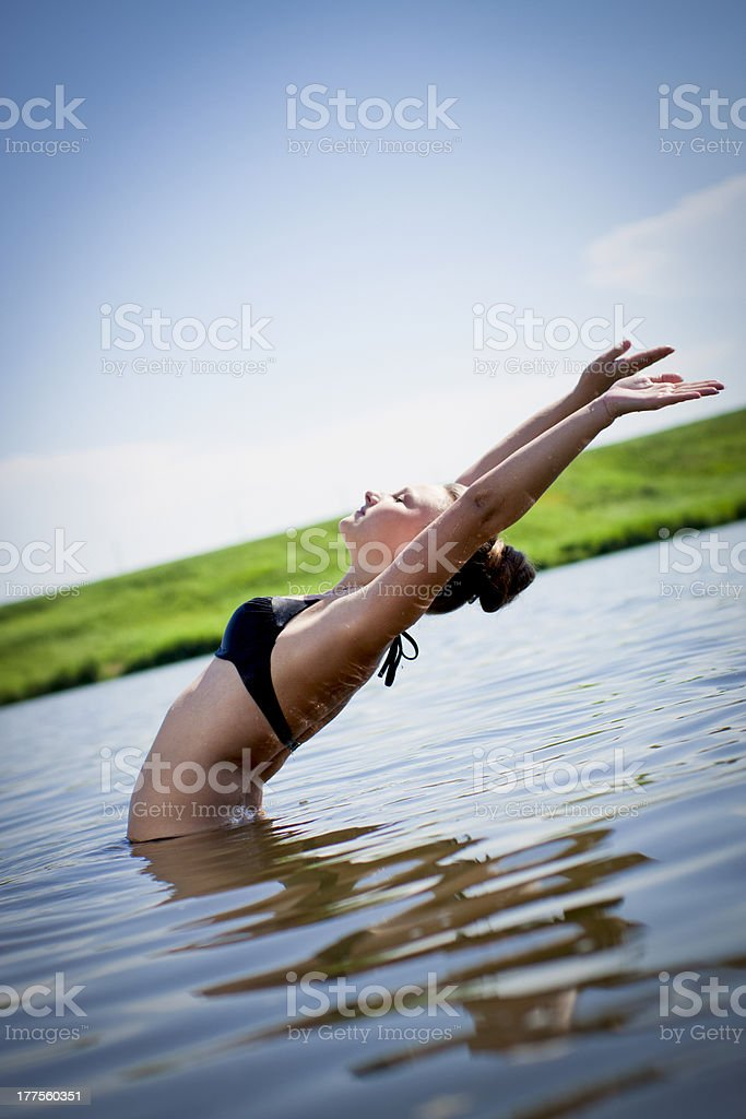 girl in a swimsuit royalty-free stock photo