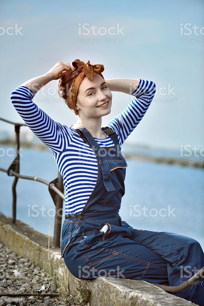 girl in a vest. picture-in pin up style, – Foto